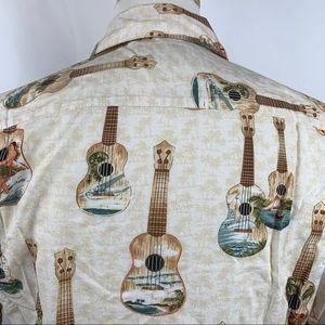 Hilo Hattie Shirts - Vtg Hilo Hattie Guitars Beach Hawaiian Camp Shirt